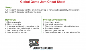 Global Game Jam cheat sheet